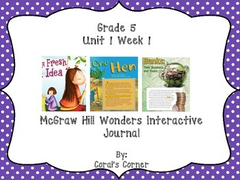 McGraw Hill Wonders 5th Grade Interactive Journal Unit 1 -Week 1