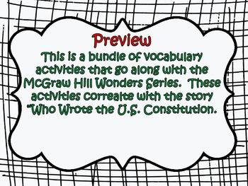 McGraw Hill Wonders 5th Grade Who Wrote the US Constitutio