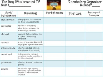 McGraw Hill Wonders, 5th - The Boy Who Invented TV Vocabul