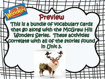 McGraw Hill Wonders, 5th Unit 3 Vocabulary Cards Bundle