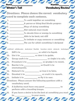 McGraw Hill Wonders, 5th Winter's Tail Vocabulary Review