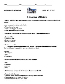 "McGraw-Hill-Wonders- ""A Mountain of History"" quiz"