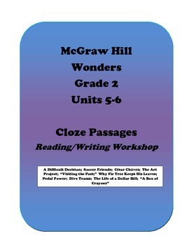 McGraw Hill Wonders Cloze Activities, Grade 2, Units 5 and 6