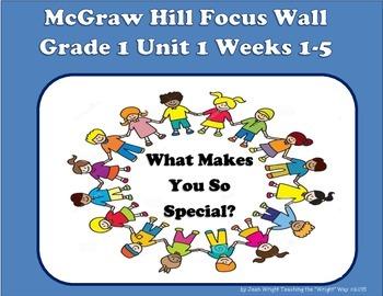 McGraw Hill Wonders Grade 1 Unit 1 Weeks 1-5 focus wall fo