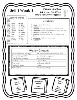 McGraw Hill Wonders Grade 3 Unit 1 Weekly Concept Sheets