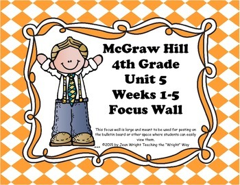 McGraw Hill Wonders Grade 4 Unit 5 Weeks 1-5  Bundle focus