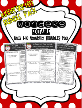 McGraw-Hill Wonders KINDERGARTEN EDITABLE Weekly Newslette