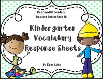 Wonders Kinder Vocabulary Response Unit 10: Thinking Outsi