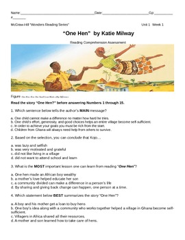 "McGraw-Hill Wonders Reading-Unit 1-Wk1 ""One hen"" Standardi"