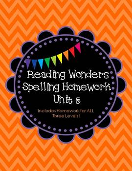 McGraw-Hill Wonders Spelling Homework ~Unit 5