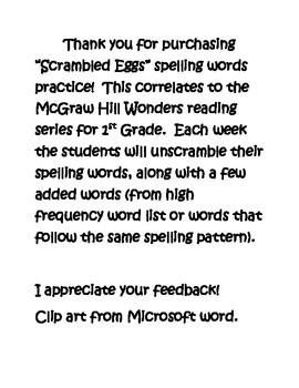"McGraw Hill Wonders Spelling Practice - ""Scrambled Eggs"" 1st Gr"