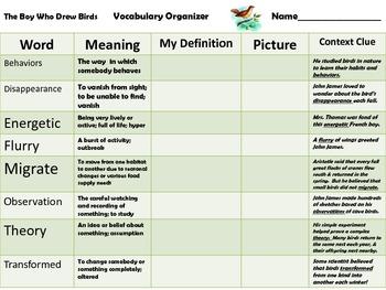McGraw Hill Wonders - The Boy Who Drew Birds - Vocabulary