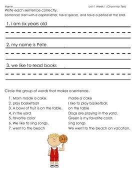 McGraw Hill Wonders Unit 1 Week 1 Grammar Practice Sentenc