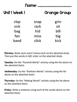 McGraw-Hill Wonders Unit 1 Weekly Spelling Activities (must have)