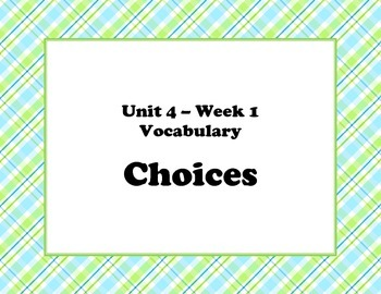 McGraw Hill Wonders Unit 4 Weeks1&2 Vocabulary Words and D