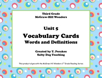 McGraw Hill Wonders Unit 5 Vocabulary Words & Definitions