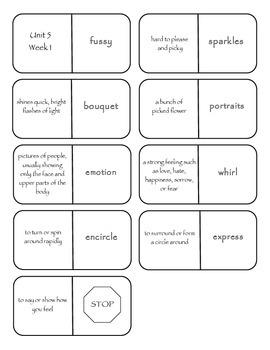 McGraw-Hill Wonders Vocabulary Dominoes Grade 4 Unit 5