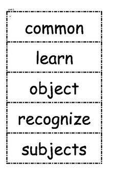 McGraw Hill Wonders Vocabulary Unit 1 1st Grade