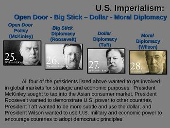 McKinley-Roosevelt-Taft-Wilson FOREIGN POLICY - fun, easy,