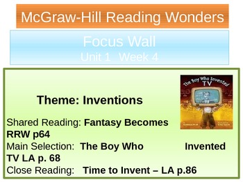 Mcgraw-Hill Focus Wall-The Boy Who Invented TV-PPP