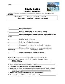 "Mcgraw Hill Reading Wonders ""Global Warming"" study guide"