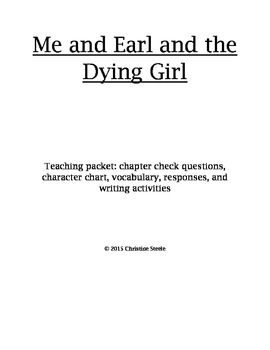 Me and Earl and the Dying Girl unit teaching packet