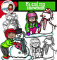 Me and my snowman- Kids with snowmen clip art