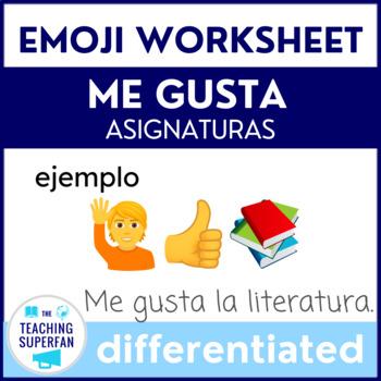Me gusta Practice - Asignaturas- Emojis {Spanish Worksheets}