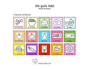 Me gusta todo Food Categorizing Spanish Printable Activity