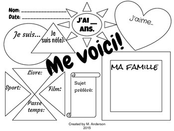 """""""Me voici"""" FSL First Day Graphic Organizer"""