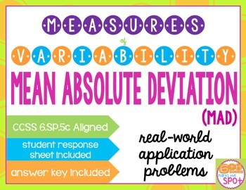 Mean Absolute Deviation: Measures of Variability Task Card