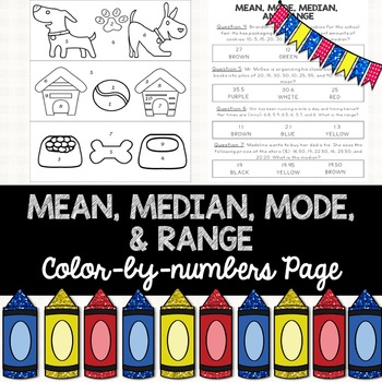 Mean, Median, Mode, & Range: Color-By-Numbers Activity