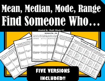 Mean, Median, Mode, Range - Find Someone Who