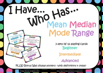 "Mean, Median, Mode, Range ""I Have Who Has"" Game"