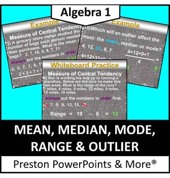 Mean, Median, Mode, Range and Outlier in a PowerPoint Pres