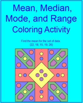 Mean, Median, Mode, and Range - Coloring Activity