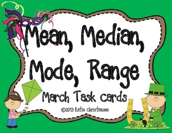 BLOG FREEBIE! Mean, Median, Mode, and Range March Task Cards