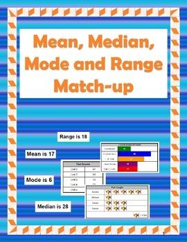 Mean, Median, Mode, and Range Match-Up