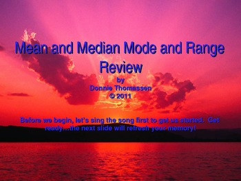 Mean Median Mode and Range Powerpoint Presentation Fifth Grade