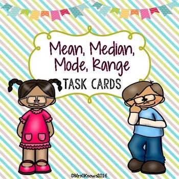 Mean, Median, Mode, Range Task Cards
