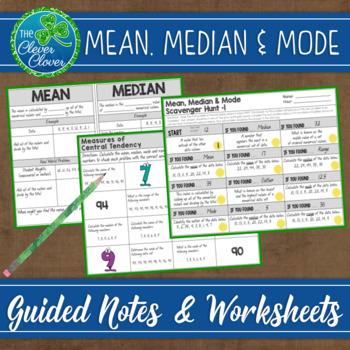 Mean, Median and Mode - Notes and Worksheets