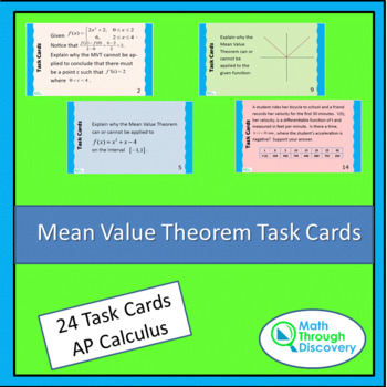 Calculus:  Mean Value Theorem Task Cards