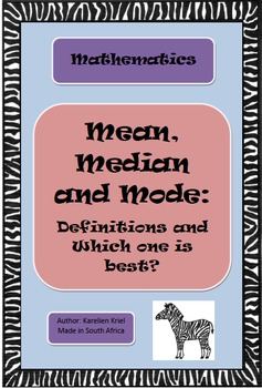 Mean, median and mode - Definitions and Which one is best? (PDF)