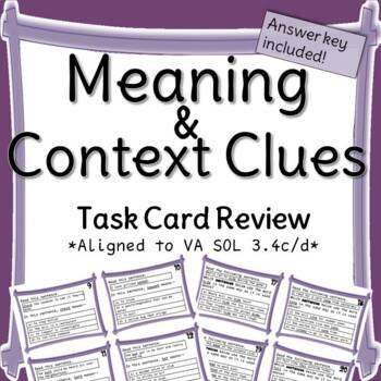 Meaning and Context Clues Task Card Review