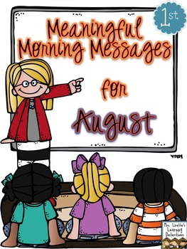 Meaningful Morning Messages for August (1st Grade)