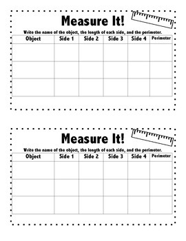 Measure It! Perimeter Recording Sheet