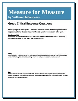Measure for Measure - Shakespeare - Group Critical Respons