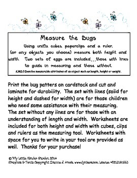 Measure the Bugs-height and width measurement with Kindergarten