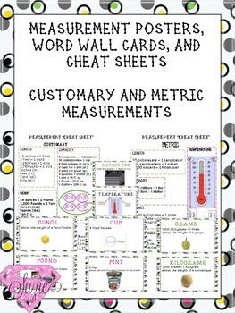 Measurement Cheat Sheets Customary and Metric Units