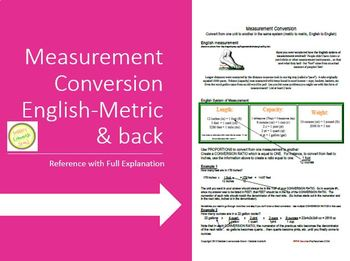 Measurement Conversions Handout with Examples (English and